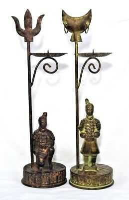 Ancient Warriors Copper & Brass Candle Holders Trident Half Moon Celtic Gothic
