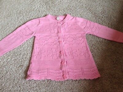 Girls pink patterned long sleeved cardigan size 3-4 years VGC