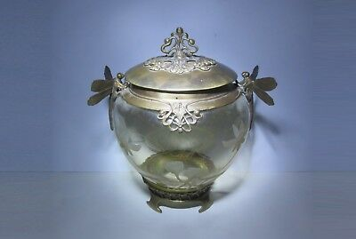 """ANTIQUE! CRYSTAL & BRONZE DRAGONFLY VASE w ETCHED FLOWERS by """"CASTILIAN"""", POLAND"""