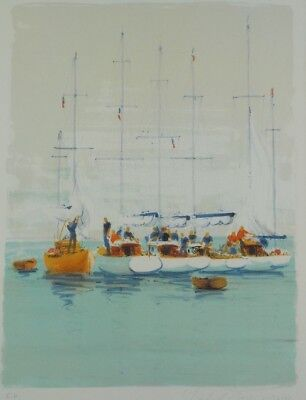 Vintage Artist Print Lithograph Harbor Sailboats by Michael Stringer Listed