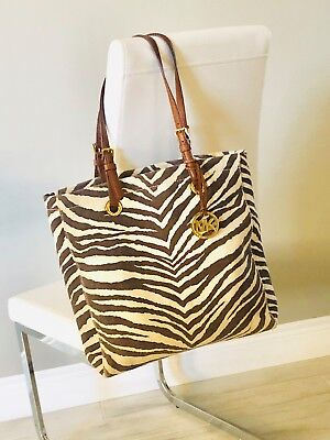 5ac83d8ae06c Michael Kors Zebra Print Canvas Tote Bag with Leather Straps. Great  Condition