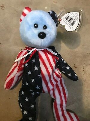 Spangle Bear Ty Beanie Baby with TAG BLUE FACE RETIRED 1999