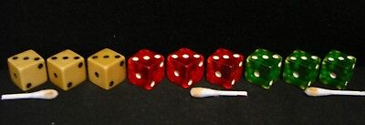 "3 Sets Of 3 Vintage Bakelite 5/8"" Dice-3 Butterscotch-3 Trp. Red-3 Trp. Green"