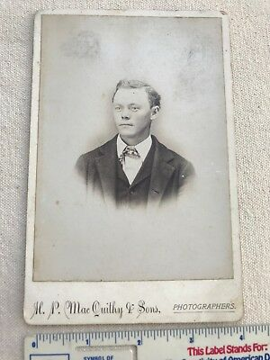 Vintage Cabinet Card Of Young Man By H.p. Macquithy & Sons