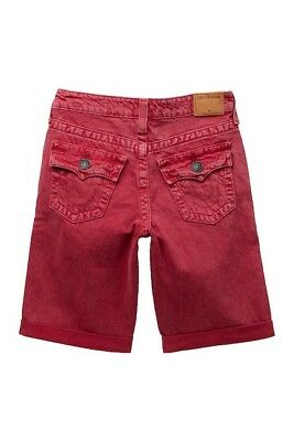 56baa2ddc TRUE RELIGION Washed Red Kids Geno Cuffed Flap Shorts Size 14 Big Boys $79  MSRP