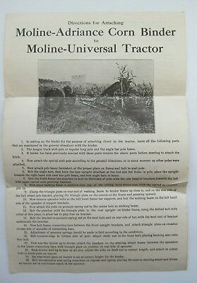 Moline-Adriance Corn Binder / Universal Tractor Instructions (ca. 1918)