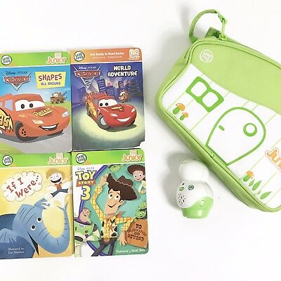 Leap Frog TAG JR Reading System Lot Reader Pen Books Case Disney Cars Toy Story