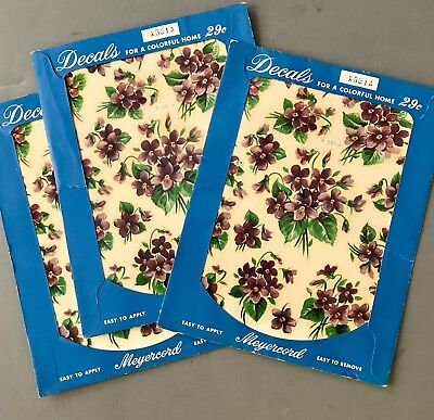 Set of 3 Vintage New Stock MEYERCORD Decals Purple Violets Floral Flowers X521A