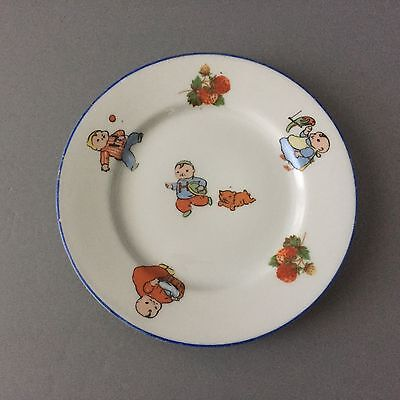 Antique BEYER & BOCK GERMANY Porcelain China Baby Parrot Dog 5 1/2 Childs Plate