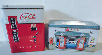 VINTAGE Lot of 2 COCA-COLA VENDING SODA MACHINE TIN & T.B.C. SERVICE STATION TIN