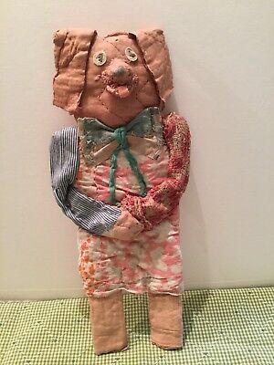 Ooak Handmade Cloth Dog Made From Antique Quilt Pieces Wallhanging