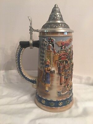 "Gerz Stuttgart Lidded Embossed Beer Stein Germany Oktoberfest 9"" Tall"