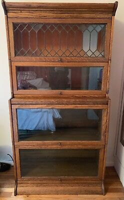 4 SECTION LEADED GLASS OAK WOOD LAWYER CABINET BARRISTER BOOKCASE Vintage stack