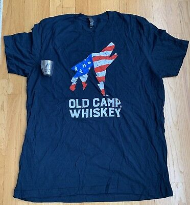 Old Camp Whiskey Patriot Shirt XL W/ Shot Glass