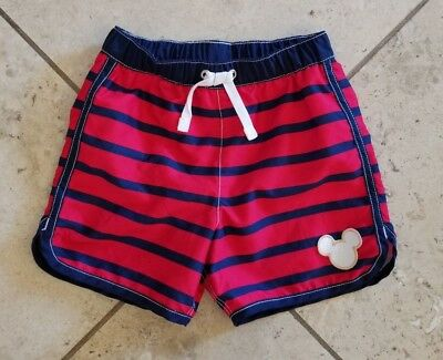 Toddler Boys Hanna Andersson Mickey Mouse Striped Swim Trunks Size 3 (90 cm)
