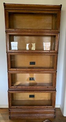 Antique Macey Barrister Lawyers 5 Section Bookcase Oak