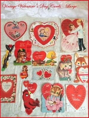 Lot of 14 Vintage Valentine Cards Variety Die Cut ca1940-60's Large