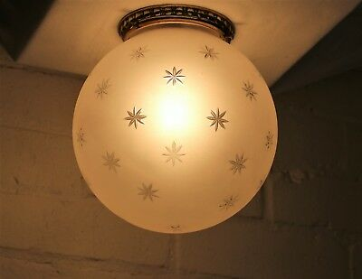 A Vintage Vaughan Lighting Cut Glass Frosted Globe Flush Mounting Ceiling Light