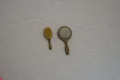 Vintage Dollhouse Miniature accessory Mirror & Brush
