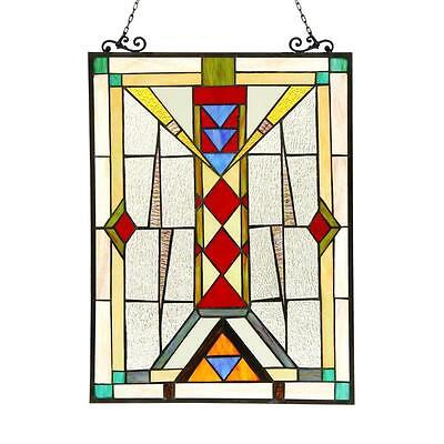 "Stained Glass Chloe Lighting Mission Window Panel CH3P806RG25-GPN 17.5 X 25"" New"