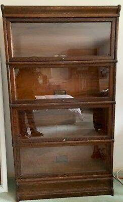 Antique Globe Wernicke Lawyers 4 Section Bookcase Oak