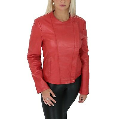 cc0e17984 WOMENS FITTED COLLARLESS Biker Leather Jacket Diagonal Zip Latest ...