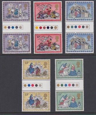 GB EII 1979 Xmas MINT TRAFFIC LIGHT GUTTER PAIRS sg1104-1108 MNH