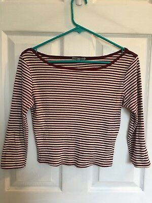 b686293310df0b Charlotte Russe size Small S striped maroon red crop top shirt 3/4 sleeve  trendy