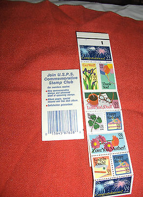 Special Occasions booklet 10 stamps each w/special greeting, 22 cents 4/20/1987