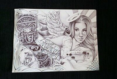 Prison ART Drawing Pen And INK California Bear Eagle Aztec Mayan Angel Girl