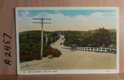 White border postcard scene on the road to Provincetown in Massachusetts
