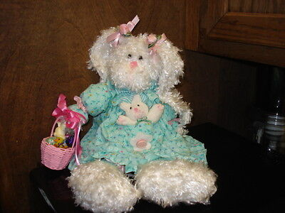 """Vtg Easter Dressed Bunny Girl With Basket Accents  Decorative Plush 13"""" Self Sit"""