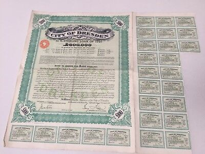1927 Post World War 1 The Free Bank of Saxony Government Bond Loan Certificate