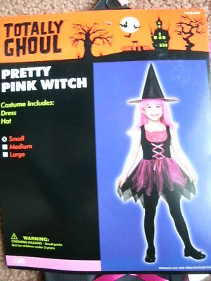 COSTUME *PRETTY PINK WITCH* girl small NEW WITH PACKAGING