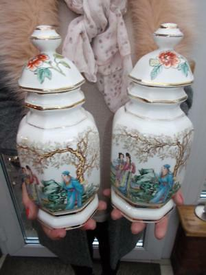 Pair Mid 1900S Chinese Porcelain Lidded Temple Jars Poetry Script To Rear