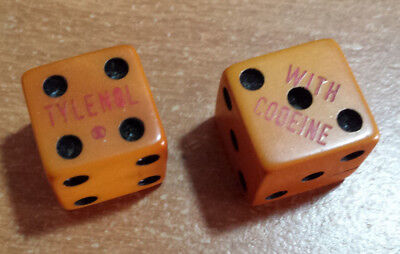 "2 Antique Vintage ""TYLENOL WITH CODEINE"" 1963 Craps Dice Souvenir '4 & 7' RARE!!"