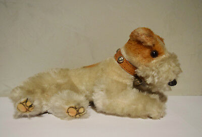 Vtg Mohar Lying Plush Wire Fox Terrier Toy Dog w/ Leather Collar
