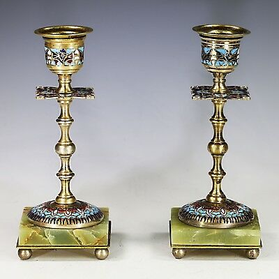 Pair Antique French champleve cloisonne bronze Candle Holders candlesticks