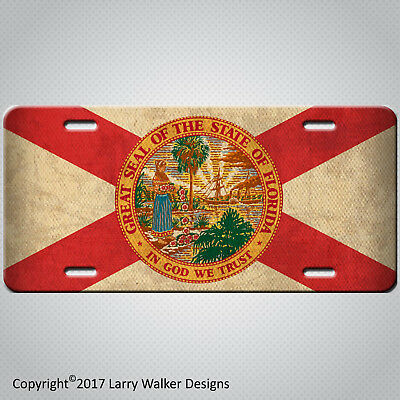 Americana Florida State Flag Aluminum License Plate Tag  Antique Vintage