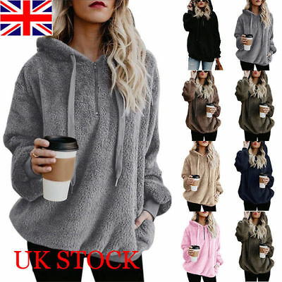 Womens Warm Fleece Hooded Sweatshrit Hoodies Ladies Winter Jumper Tops Plus Size