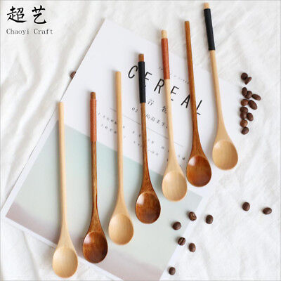 Various Wooden Spoons Large Long Handled Rice Soup Dessert Spoon Utensils