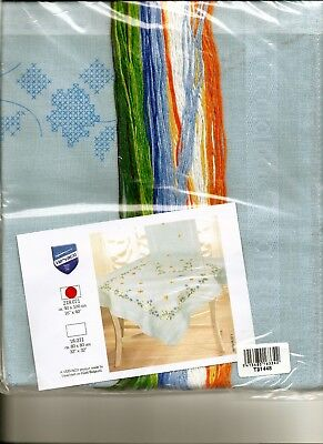 HARD TO FIND-BLUE DAISIES Table Runner-Stamped Cross Stitch-GREAT GIFT-VERVACO