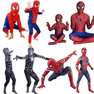 Boys Kids Spiderman Costume Cosplay Superhero Fancy Dress Up Outfits Party
