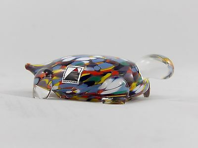 Bohemian Glass Vintage Confetti Turtle Art Glass Paperweight.