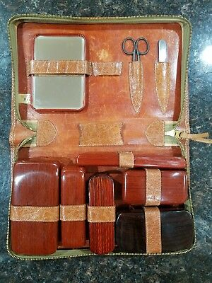 Vintage Men's Pigskin Leather Grooming Toiletry Kit Travel Luggage w/ Cases USA