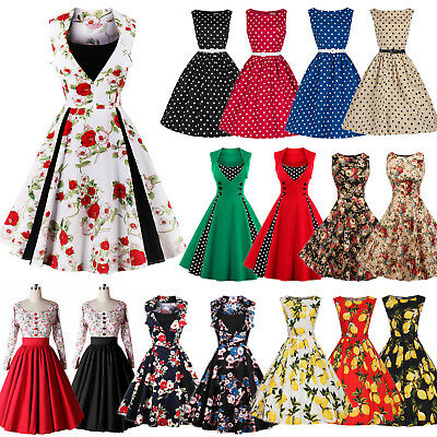 UK Womens Vintage Style 1950's Retro Floral Rockabilly Evening Party Swing Dress