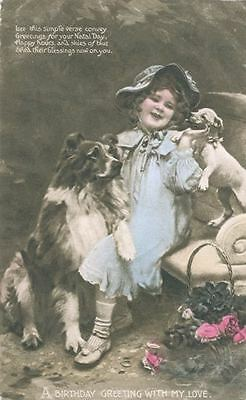 Old Postcard PC Italian Greyhound & Collie + Child c1908 England Happy Folks