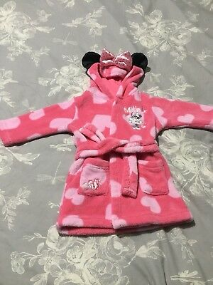Baby Girls minnie mouse Dressing Gown 6-9 Months, With Bow On Hood