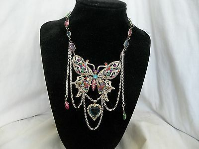 Victorian Butterfly Rainbow Pink Blue Green Lavender  Assemblage Necklace OOAK