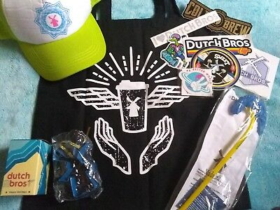 Dutch Bros coffee LOT - Stickers, Tote Bag, Hat, Mini Cup Ornament - PLUS
